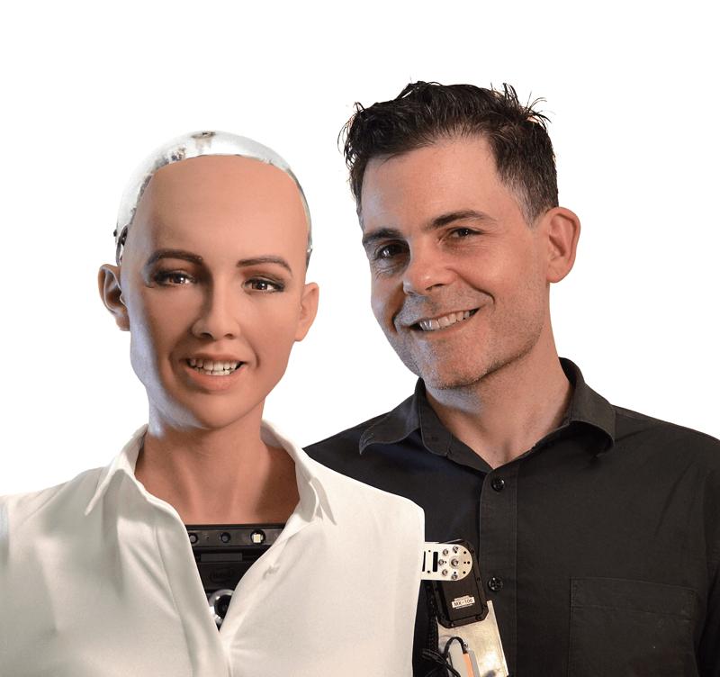 汉森机器人创始人与他的产品索菲亚