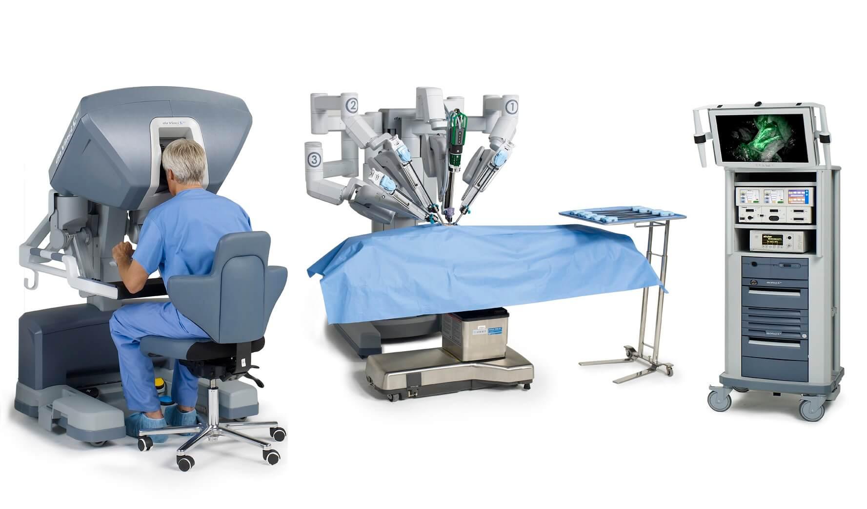 达芬奇手术机器人由操作台、手术台、可视系统组成